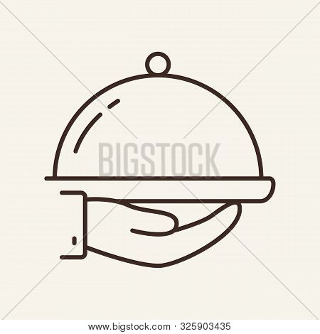 Hand Holding Hotplate Line Icon. Waiter, Cover, Serving. Restaurant Business Concept. Vector Illustr