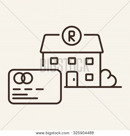 Restaurant And Bank Card Line Icon. Payment, Bill, Building. Restaurant Business Concept. Vector Ill