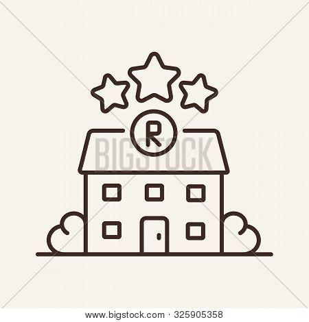 Restaurant And Stars Line Icon. Building, Michelin Star, Assessment. Restaurant Business Concept. Ve