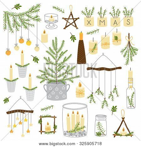 Cute Scandinavian Set Of Vintage Christmas And New Year Decorative Elements As Wooden Star, Christma