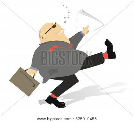 Cheerful Businessman Walks And Sings A Song Illustration. Walking And Singing Cheerful Fat Hairless