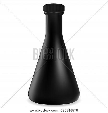 Black Bottle. Glass Jar Mockup. Vector Container Blank. Realistic Liquour Cocktail Cone Pot. Screw C