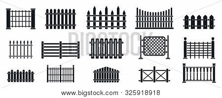 Fence Icons Set. Simple Set Of Fence Vector Icons For Web Design On White Background