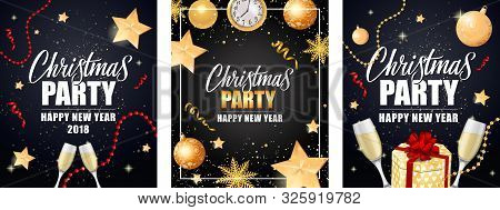 Christmas Party Invitation Card Set. Gold Baubles, Champagne Flutes, Streamer, Sparkle, Clock On Bla