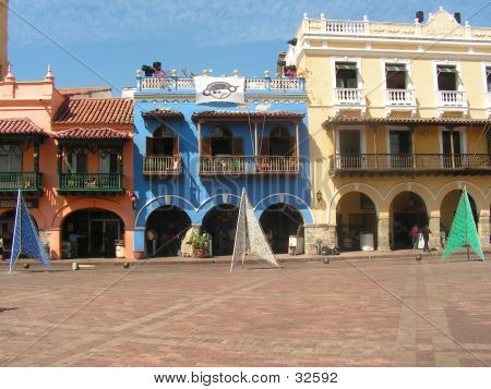 buildings in cartagena - colonial architecture poster