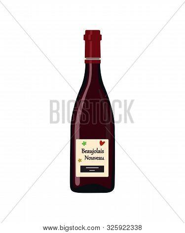 Beaujolais Nouveau. Bottle Beaujolais Nouveau Isolated On White Background