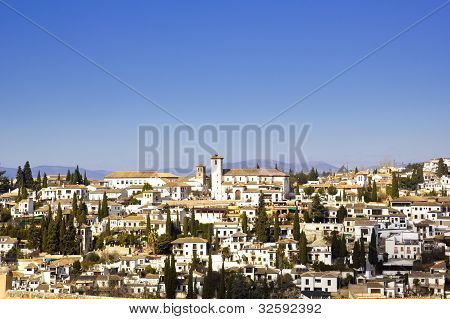 District of Albaicin Granada from the walls of the Alhambra. poster