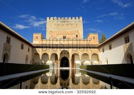 Palacio Nazaries Of Alhambra, Granada, Spain.