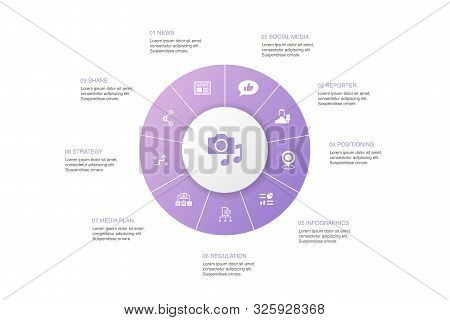 Media Infographic 10 Steps Circle Design.news, Reporter, Infographics, Media Plan Icons
