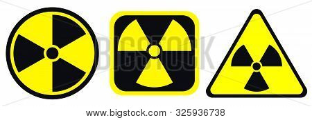 Radiation Warning Black And Yellow Signs In Circle, Square And Triangle Shape. Radioactivity Warning