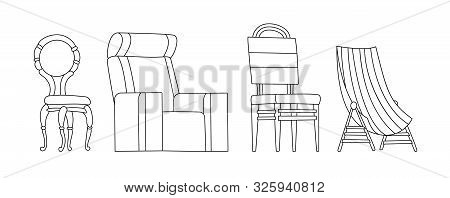Coloring Book Page. Chair Vector Comfortable Seat For Interior Style. Design Of Modern Chair And Arm