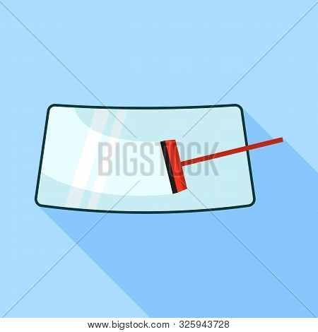 Car Cleaning Windshield Icon. Flat Illustration Of Car Cleaning Windshield Vector Icon For Web Desig