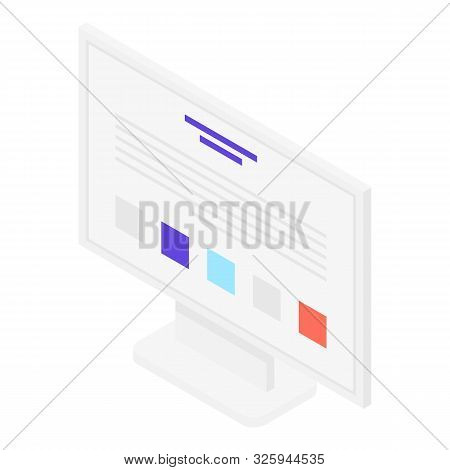 Lcd Monitor Icon. Isometric Of Lcd Monitor Vector Icon For Web Design Isolated On White Background