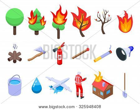 Wildfire Icons Set. Isometric Set Of Wildfire Vector Icons For Web Design Isolated On White Backgrou