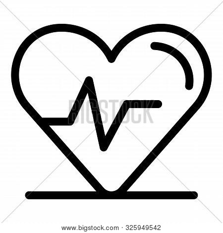 Heart Rhythm Icon. Outline Heart Rhythm Vector Icon For Web Design Isolated On White Background