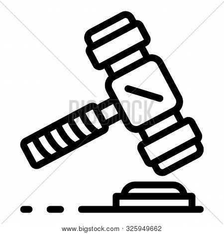 Judicial Hammer Icon. Outline Judicial Hammer Vector Icon For Web Design Isolated On White Backgroun
