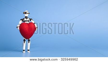 Cute Robot Holding Red Heart, Blue Panorama Background With Empty Space