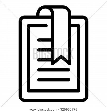 Bookmarked Digital Book Icon. Outline Bookmarked Digital Book Vector Icon For Web Design Isolated On