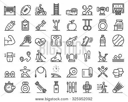 Outdoor Fitness Icons Set. Outline Set Of Outdoor Fitness Vector Icons For Web Design Isolated On Wh