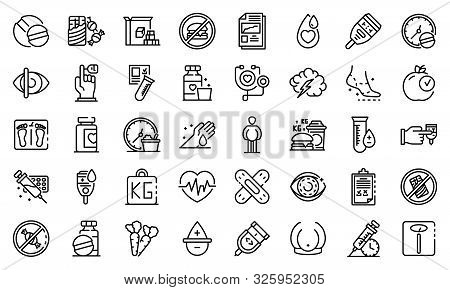 Diabetes Icons Set. Outline Set Of Diabetes Vector Icons For Web Design Isolated On White Background