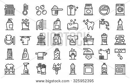 Bleach Icons Set. Outline Set Of Bleach Vector Icons For Web Design Isolated On White Background