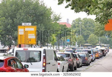 Traffic Jam Congestion Downtown In Berlin Germany