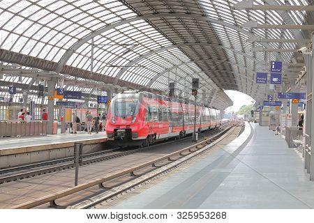 Berlin Germany - June 11, 2019: Unidentified People Travel By Db Deutsche Bahn Train In Berlin Germa