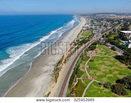 Aerial View Of Del Mar Coastline And Beach, San Diego County, California, Usa. Pacific Ocean With Lo