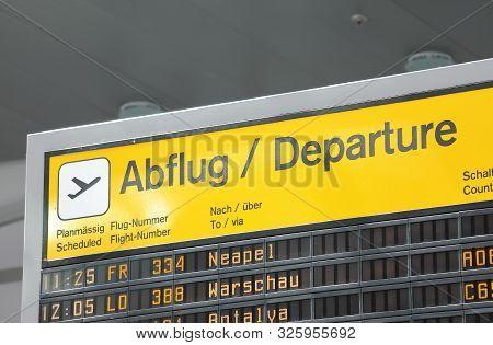 Berlin Germany - June 12, 2019: Flight Departure Schedule Board Tegel Airport Berlin Germany