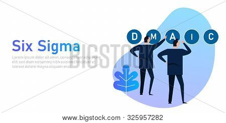 Six Sigma A Concept Of Process Business Improvement Through Dmaic Strategy. Businessman Working On.