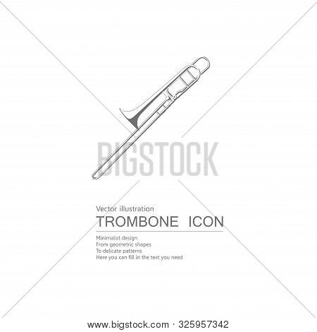 Vector Drawn Trombone. Isolated On White Background.