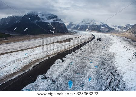 Ice Highway - Mount Mckinley Glacier Tracks Seen From The Airplane, Alaska