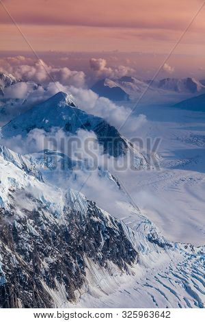 Higher Than Clouds - Areal View Of Mount Mckinley Glaciers, Alaska