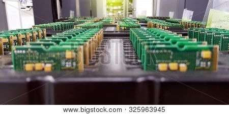 Electronics Manufacturing Services, Assembly Of Circuit Board Arrangement, Close-up Of The Raw Of Pc