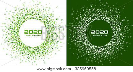New Year 2020 Night Background Party Set. Greeting Cards. Green Glitter Paper Confetti. Glistening F