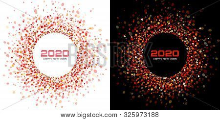 New Year 2020 Night Background Party Set. Greeting Cards. Red Glitter Paper Confetti. Glistening Fes