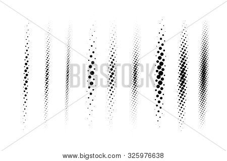 Halftone Vector Divider Lines Set. Circle Dots Linear Gradient Pattern Textures Isolated On White Ba