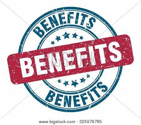 Benefits Stamp. Benefits Round Grunge Sign. Benefits