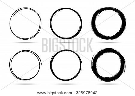Hand Drawn Circles Sketch Frame Set. Scribble Line Circle. Doodle Circular Round Logo Design Element