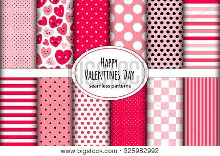Cute Childish Set Of Seamless Patterns Background With Funny Kawaii Cartoon Characters Of Hearts