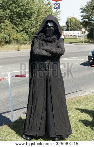 Corby, U.k. September 14, 2019 - A Man In Costume Darth Vader At British Fire Engine Open Day Family
