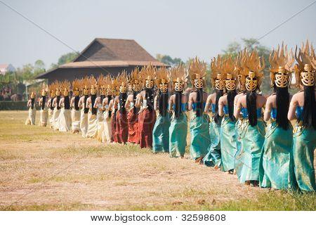 Row Isaan Dancers Backs
