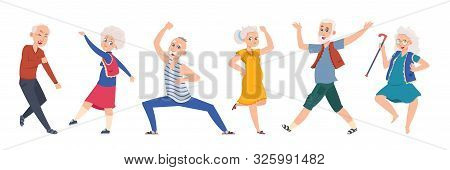 Old Dancing People. Cartoon Happy Older Characters, Group Of Senior Age Persons Having Good Time. Ve
