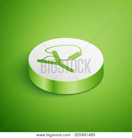Isometric Slingshot Icon Isolated On Green Background. White Circle Button. Vector Illustration