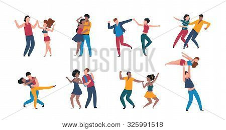 Dancing Couples. Cartoon Trendy Pairs Performing Dance At Choreography School, Flat Men And Women Ch