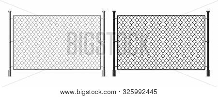 Metal Wire Fence. Realistic Steel Dark And Light Fence, Industrial Metal Wire Mesh, Prison Security