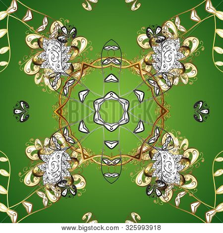 Green And White Colors With Golden Elements. Gold Metal With Floral Pattern. Vector Golden Floral Or