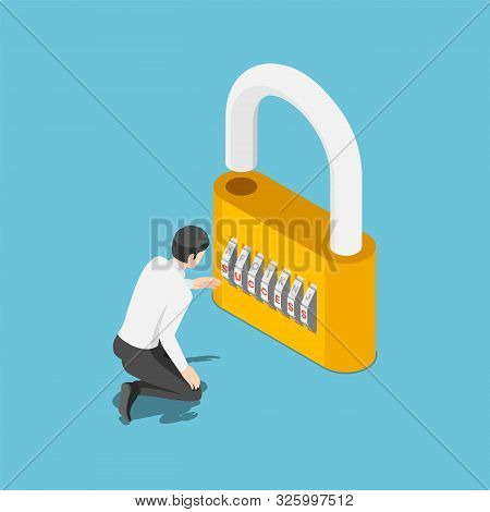 Flat 3d Isometric Businessman Unlock The Lock By Success Code. Business Success And Unlock Potential