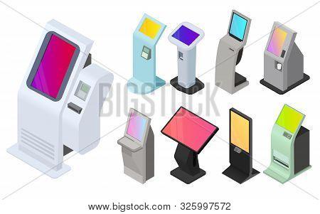 Kiosk Icons Set. Isometric Set Of Kiosk Vector Icons For Web Design Isolated On White Background
