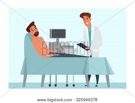 Electrocardiogram Flat Vector Illustration. Heart Activity Diagnostics. Man Cartoon Character Lying